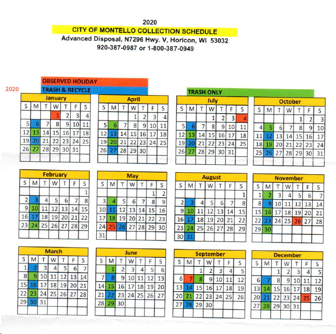 City of Montello Garbage/Recycling Schedule